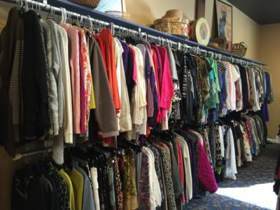 Shopping racks of clothes for sale at TAILS and reTAILS